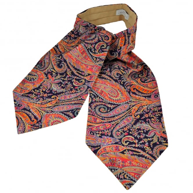 Liberty Van Buck Purple, Silver, Orange & Fuchsia Pink Paisley Pattern Casual Day Cravat