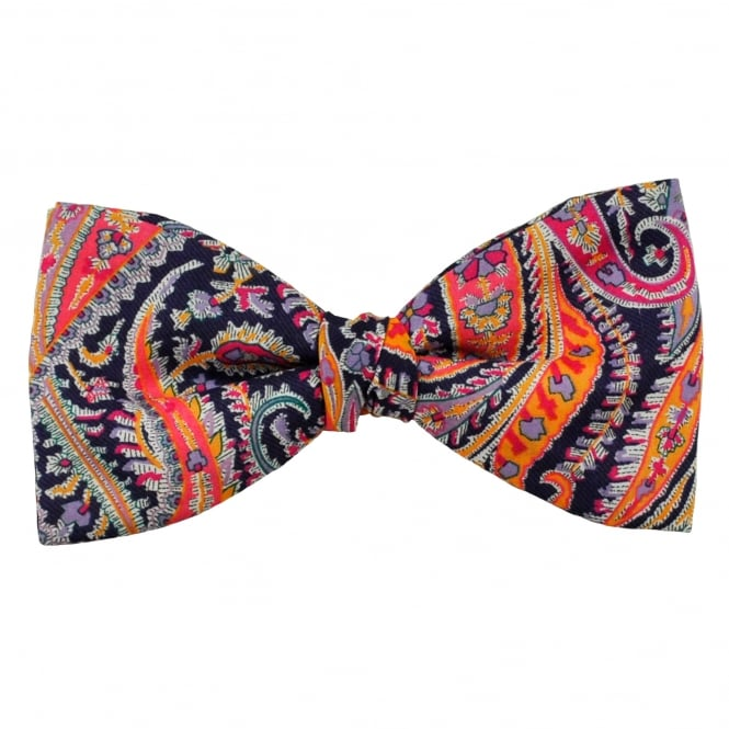 Liberty Van Buck Purple, Silver, Orange & Fuchsia Pink Paisley Pattern Men's Bow Tie