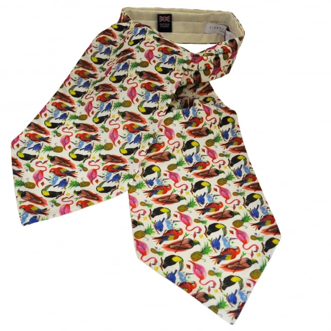 Liberty Van Buck White Parrots, Tropical Birds & Pineapple Pattern Casual Day Cravat