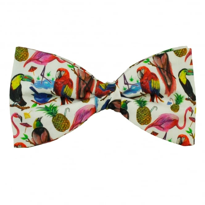 Liberty Van Buck White Parrots, Tropical Birds & Pineapple Pattern Men's Bow Tie