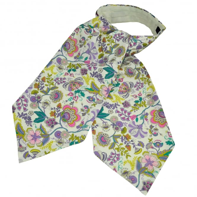 Liberty Van Buck White, Purple, Pink & Yellow Flower Patterned Casual Day Cravat