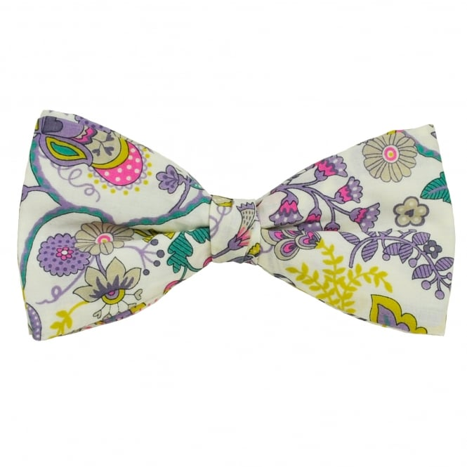 Liberty Van Buck White, Purple, Pink & Yellow Flower Patterned Designer Bow Tie