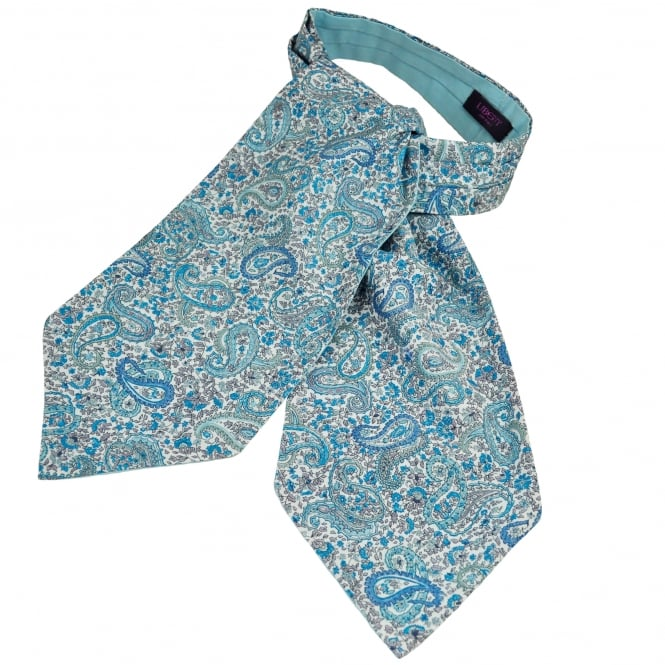 Liberty Van Buck White & Shades of Blue Paisley Patterned Casual Day Cravat