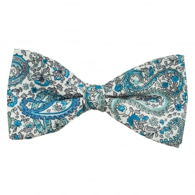 Liberty Van Buck White & Shades of Blue Paisley Patterned Designer Bow Tie