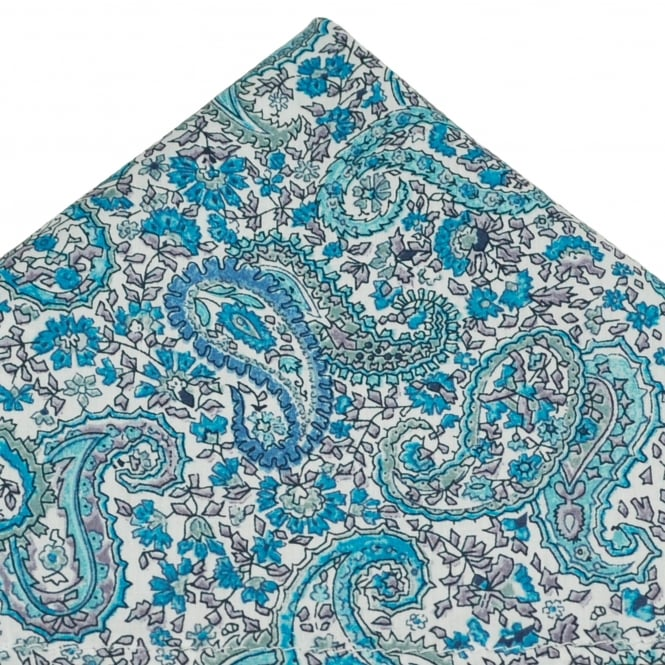 Liberty Van Buck White & Shades of Blue Paisley Patterned Designer Pocket Square Handkerchief