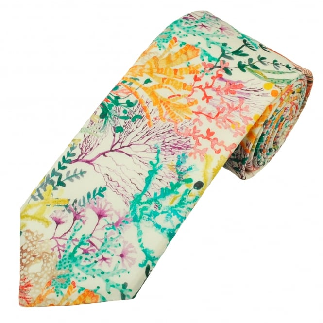 Liberty Van Buck White Underwater Coral Reef Pattern Designer Men's Tie