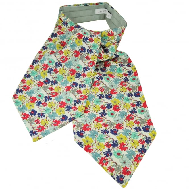 Liberty Van Buck White, Yellow, Purple, Coral, Blue & Mint Floral Pattern Casual Day Cravat