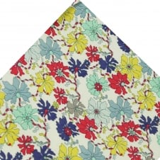 Liberty Van Buck White, Yellow, Purple, Coral, Blue & Mint Floral Pattern Designer Pocket Square Handkerchief