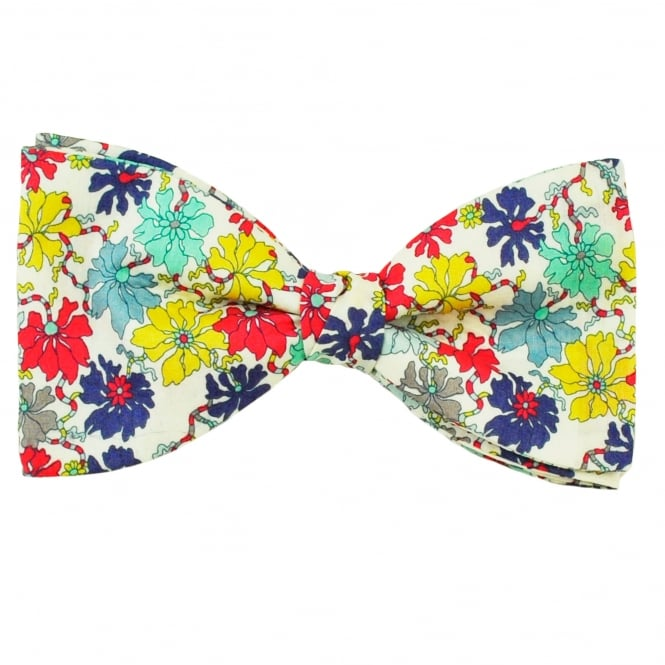 Liberty Van Buck White, Yellow, Purple, Coral, Blue & Mint Floral Pattern Men's Bow Tie