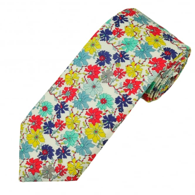 Liberty Van Buck White, Yellow, Purple, Coral, Blue & Mint Floral Pattern Men's Designer Tie