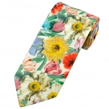 Liberty Van Buck White, Yellow, Red, Green, Blue & Pink Flower Patterned Men's Designer Tie