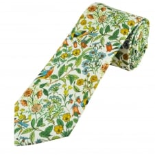 Liberty White, Blue, Green, Red & Yellow Flowers & Birds Men's Cotton Designer Tie