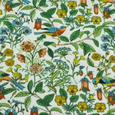 Liberty White, Green, Blue, Red & Yellow Flowers & Birds Designer Pocket Square Handkerchief