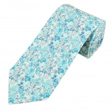 Liberty White, Grey & Shades of Blue Flower Patterned Designer Tie