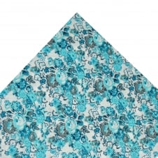 Liberty White , Grey & Shades of Blue Flower Patterned Pocket Square Handkerchief