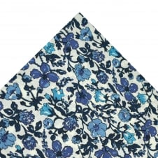 Liberty White & Shades of Blue Flower Patterned Pocket Square Handkerchief