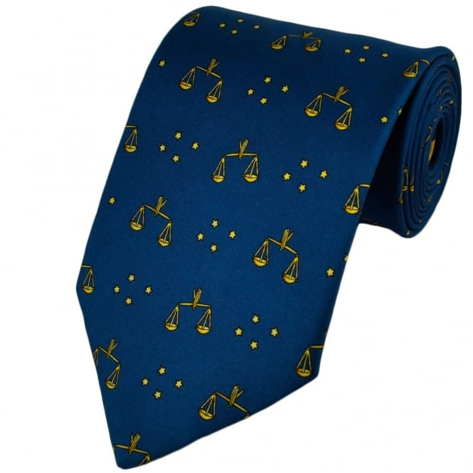 Libra Horoscope Star Sign Blue Silk Novelty Tie