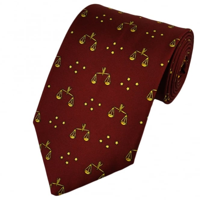 Libra Horoscope Star Sign Red Silk Novelty Tie