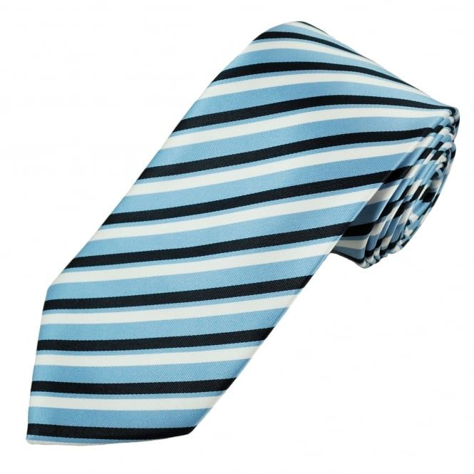 Light Blue, Black & White Striped Men's Tie