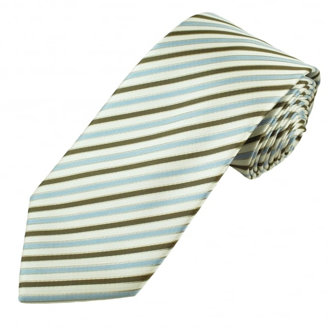 Light Blue, Ecru, Brown & Beige Striped Men's Tie