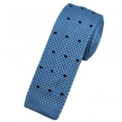 Light Blue & Navy Polka Dot Silk Knitted Tie
