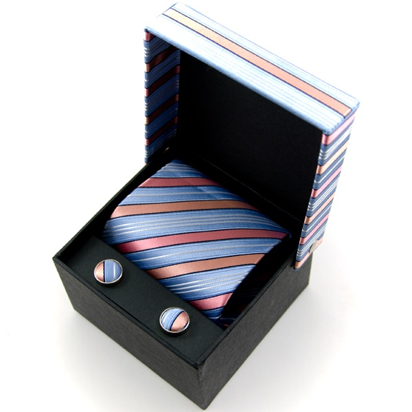 Ties Planet Light Blue, Pink & Silver Striped Silk Tie & Cufflinks ...