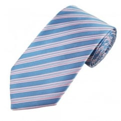 Light Blue, Pink & White Striped Men's Silk Tie - Gift Boxed
