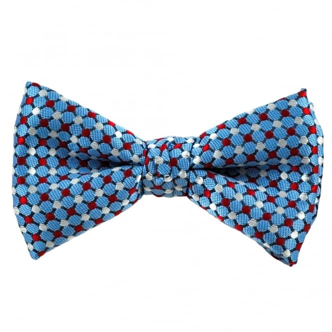 Light Blue, Red & Silver Dot Patterned Silk Bow Tie