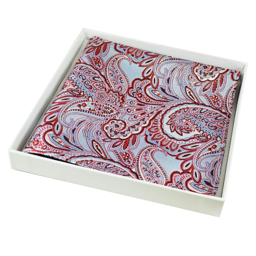 f59014d7fc8a6 Light Blue, Red & Silver Paisley Patterned Silk Pocket Square Handkerchief  from Ties Planet UK