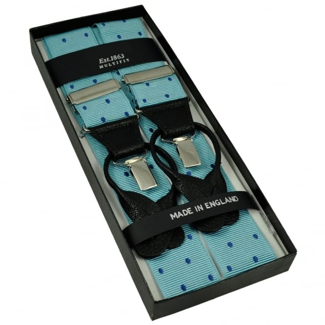 Light Blue & Royal Blue Polka Dot Trouser Braces (with Black Leather Dual 2 in 1 Button and Clip Attachment)