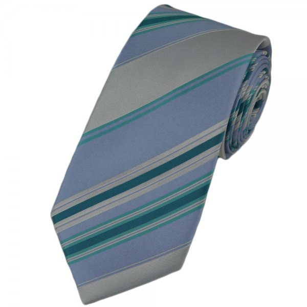 Light blue silver mint green striped silk narrow tie from ties planet uk - Light blue and mint green ...