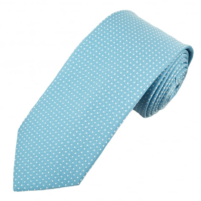 Light Blue & Silver White Square Pattern Men's Tie