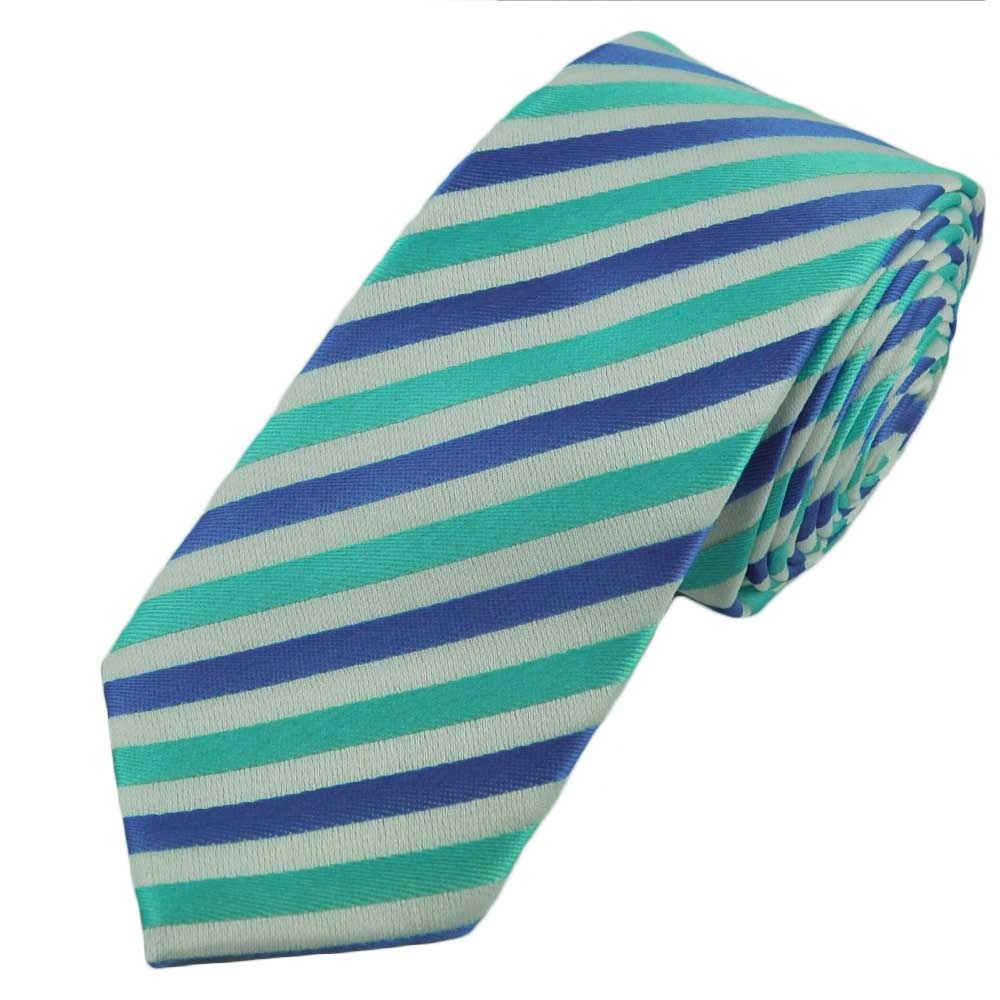 light blue turquoise white striped tie from ties