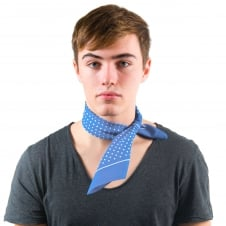 Light Blue & White Polka Dot Bandana Neckerchief