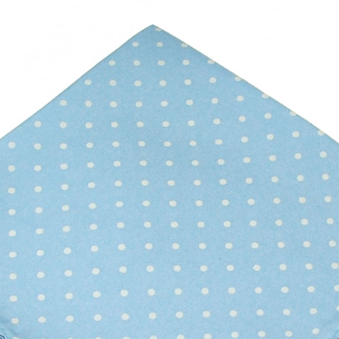 Light Blue & White Polka Dot Silk Pocket Square Handkerchief