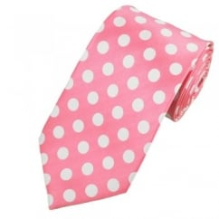 Light Pink & White Polka Dot Tie