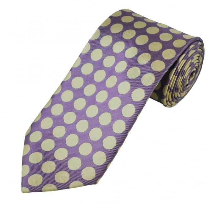 Lilac & Beige Polka Dot Patterned Men's Extra Long Tie