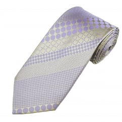 Lilac & Beige Spots & Circles Patterned Men's Silk Tie