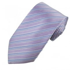 Lilac, Blue, White & Purple Striped Men's Silk Tie - Gift Boxed