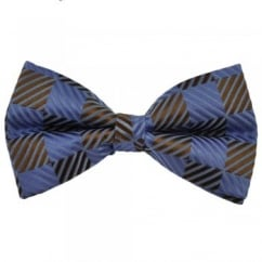 Lilac & Brown Square Patterned Silk Bow Tie