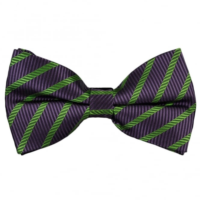 Lilac & Green Striped Silk Bow Tie