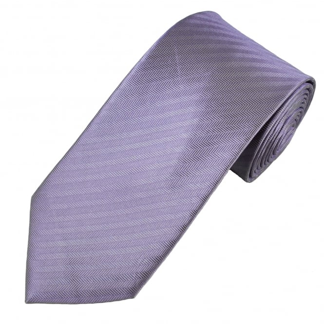 Lilac Herringbone Weave Patterned Men's Silk Tie
