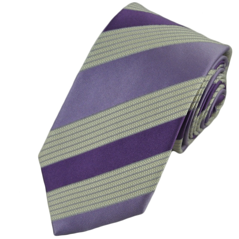 lilac lavender white striped silk tie from ties planet uk