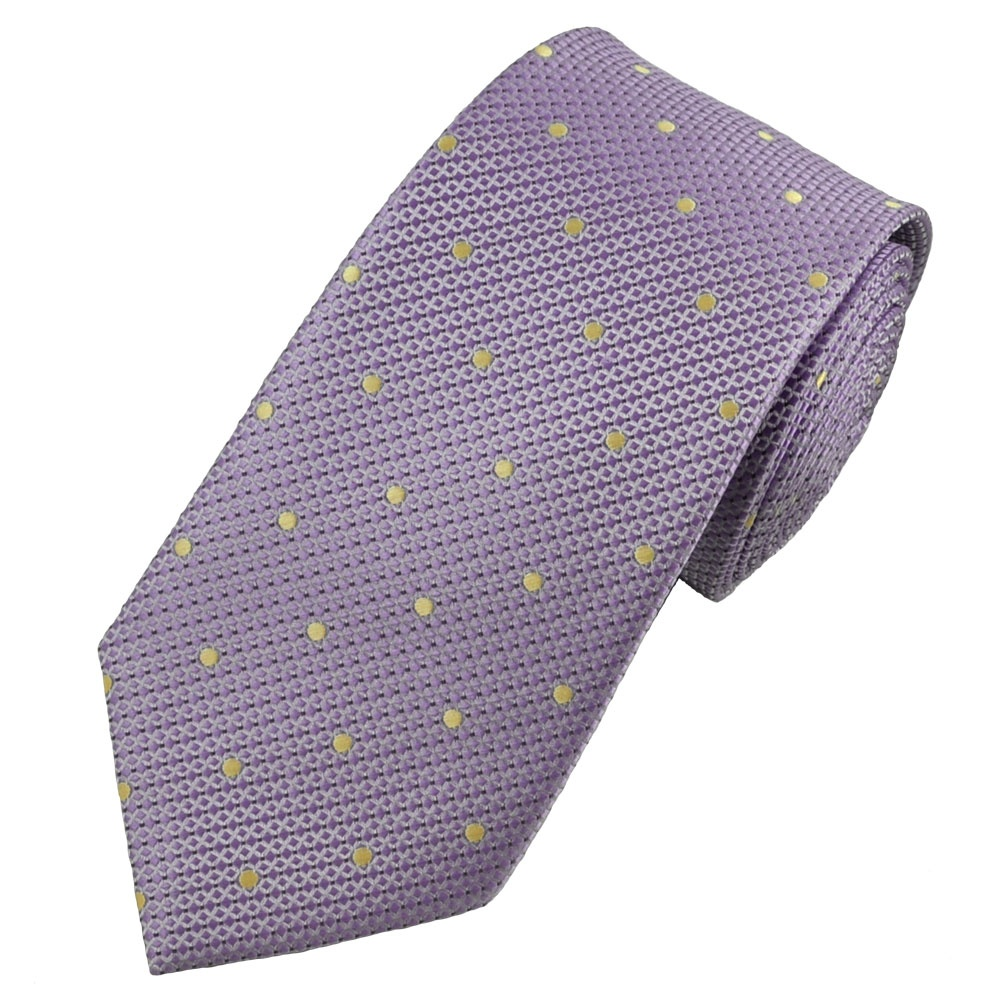 lilac micro checked golden yellow polka dot tie from