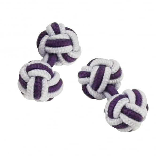 lilac and purple elastic knot cufflinks