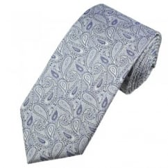Lilac, Purple & Silver Paisley Patterned Men's Silk Tie