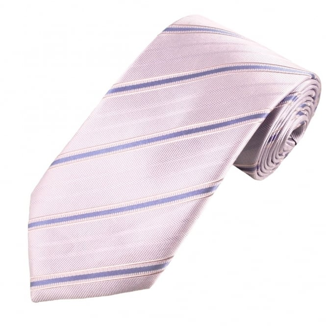 Lilac & Purple Woven Stripe Patterned Men's Silk Tie - Gift Boxed