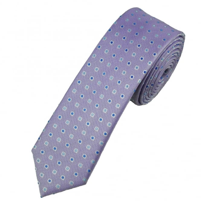 Lilac & Shades of Blue Spot Patterned Skinny Tie