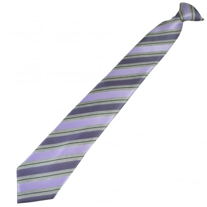 Lilac, Silver Grey & Black Striped Patterned Clip On Tie