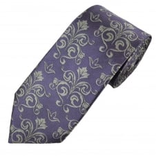 Lilac & Silver Paisley Patterned Men's Silk Tie